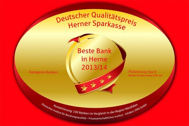 """Auszeichnung """"Beste Bank in Herne 2013/2014"""""""
