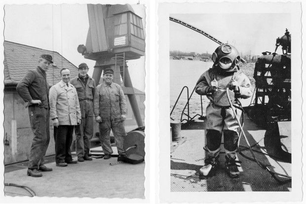 Foto (l): Heinz Gäsel (r.) mit Arbeitskollegen vor der Helliganlage der ehemaligen Werft in Herne; Foto (r.) Helmtaucher Willi Gäsel Fotos: ©Privat
