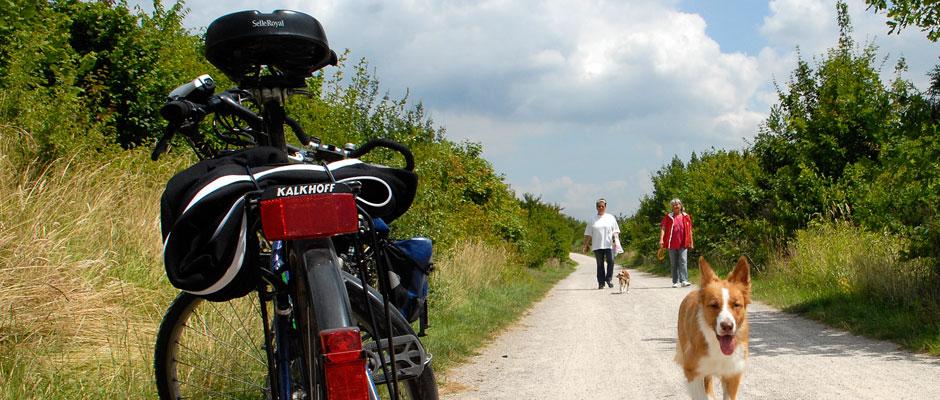 Mit dem Fahrrad am Kanal entlang.