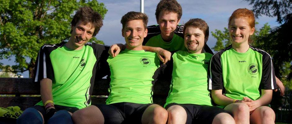 Die Europameister im Einradhockey vom BTC Herne: Lukas Gers, Ben Behrens, Stefan Gers, Rene Mischliewitz, Maxi Jaik. Foto: BTC