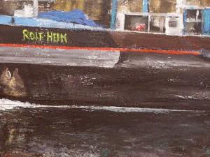 Gisela Collenburg: Auf dem Kanal gleitet ein Riese mit sanftem Wellenschlag (Ausschnit). Foto: Horst Martens, Stadt Herne