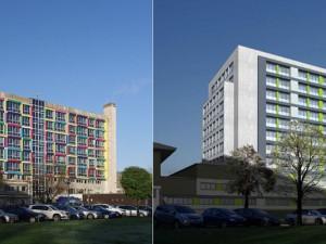 Das Marienhospital: so sieht es heute aus (links), so wird es nach Abschluss der Bauarbeiten aussehehen (rechts). © Marienhospital Herne