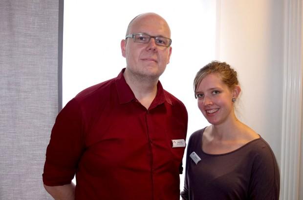 Psychologin Paula Siegmann und Sozialarbeiter Hubert Klein leiteten die Gruppentherapie. © Stadt Herne, Horst Martens