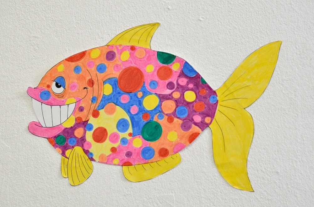 """Comicfisch aus der Ausstellung """"Wasserspiele"""" im Kunsthaus Crange. © Stadt Herne, Horst Martens"""