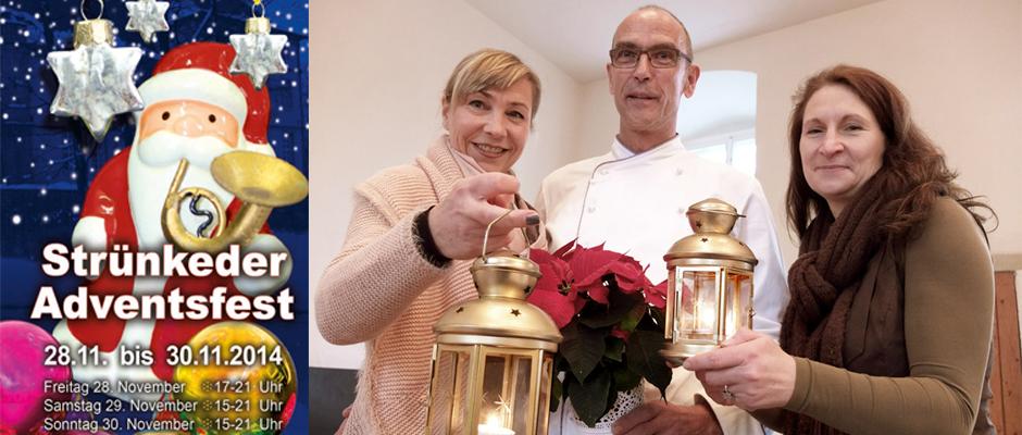 """Die """"Macher"""" des Strünkeder Adventsfestes: Claudia Stipp vom Kulturbüro (Gesamtorganisation), Johannes Grosse (Chefkoch vom Parkrestaurant; kulinarische Angebote) und Andrea Prislan vom Emschertal-Museum (Kulturangebote)."""