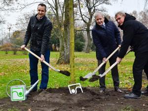 Pflanzen den Baum des Jahres (v.l.): Thorsten Siller, Oberbürgermeister Horst Schiereck und Fachbereichsleiter Hans-Jürgen Kuhl. © Thomas Schmidt, Stadt Herne