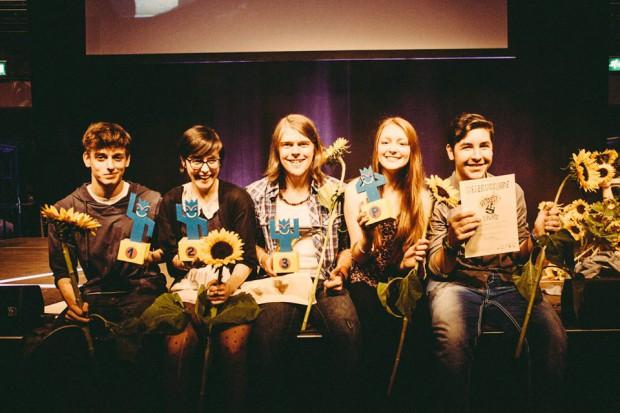 Die Herbert-Sieger 2014: unter ihnen Nadia Ijheij (2.v.l.) und Patrick Nagel (3.v.l.). ® Mischa Lorenz.
