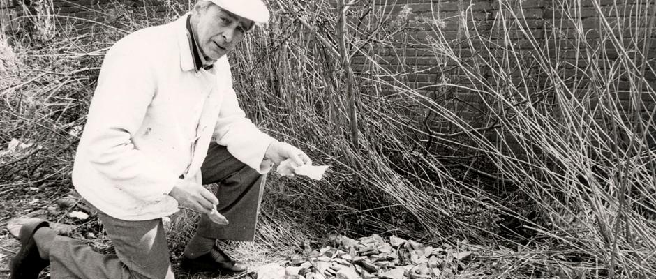 """Der Finder Paul Bazynski mit der vermeintlichen archäolologischen """"Sensation"""", dokumentiert 1980 von der Hertener Zeitung. Foto: Hertener Allgemeine/Peter Rudolph."""