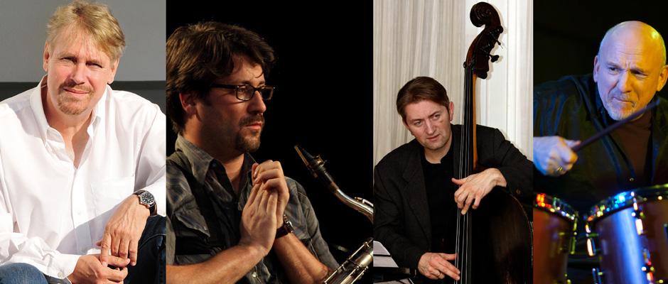 Werden das Publikum der Musikschule mit Jazz begeistern: Axel Fischbacher (Gitarre), Ohad Talmor (Saxophon), Martin Gjakonovski (Bass) und Adam Nussbaum (Schlagzeug). © Claudia Kettler und andere.