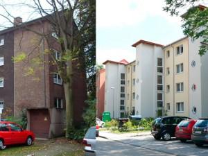 Vorher – nachher: Freundlich, hell und mit Außenaufzügen präsentieren sich die Häuser der GWG an der Robert-Koch-Straße 6-12 nach der aufwändigen Sanierung. Fotos: GWG