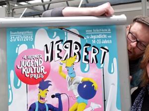 """Machen """"Herbert"""" möglich: Chris Wawrzyniak, Pierre Cournoyer und Gabriele Kloke. © Stadt Herne, Horst Martens."""