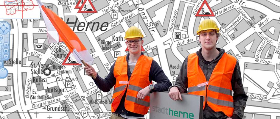 Domenik Hientzsch und Tim Herker haben das Baustelleninformationssystem entwickelt. © Stadt Herne, Horst Martens