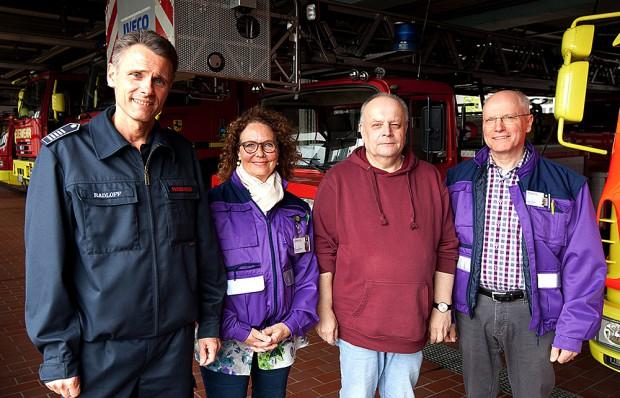 Ralf Radloff von der Feuerwehr, Hannelore Flanz, Hajo Witte und Dieter Dreyer von der Notfallseelsorge. © Stadt Herne, Horst Martens.