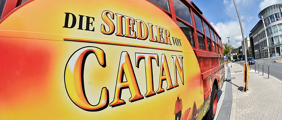 Der Catan-Bus wird Blickfang für den Spielezentrum-Stand sein. © Thomas Schmidt, Stadt Herne.