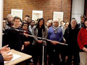 Oberbürgermeister Dudda bei der Eröffnung der Extremismus-Ausstellung. © Stadt Herne, Horst Martens.