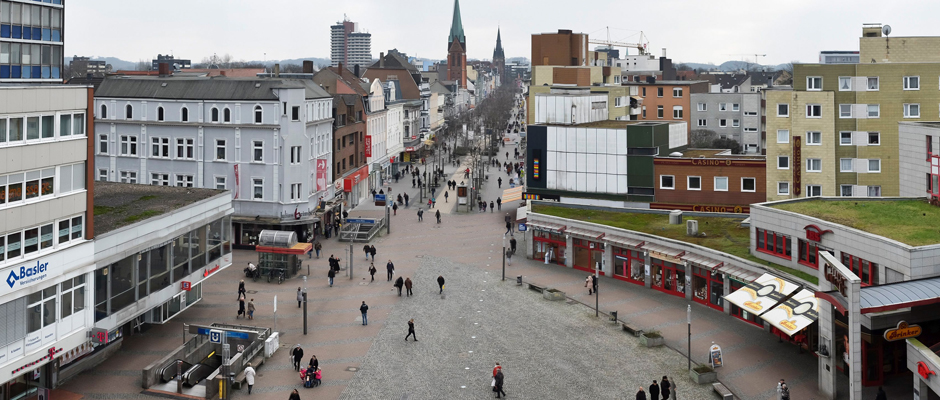 Ein Teil des Quartiers an der Bahnhofstraße, mit dem sich die Stadt Herne bei Innovation City bewirbt. © Thomas Schmidt, Stadt Herne.