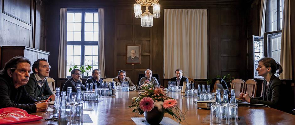 Bei der Pressekonferenz im Herner Rathaus informierten Stadtrat Friedrichs und Co. über den Ersten Herner Monitoringbericht. © Frank Dieper, Stadt Herne.