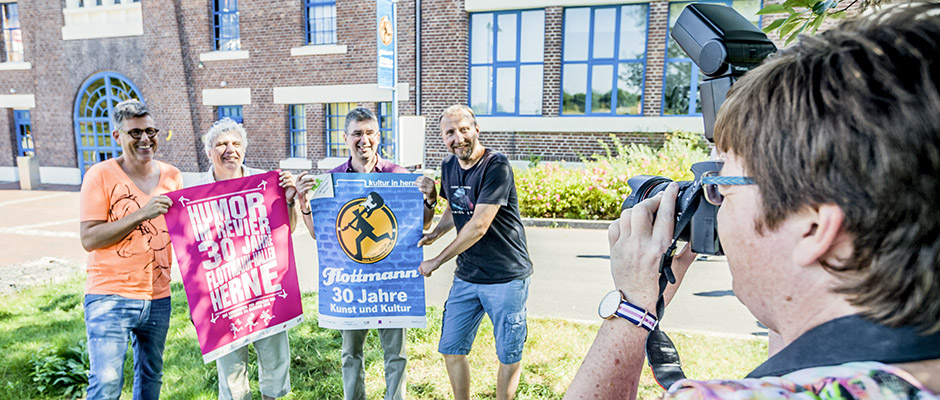 Präsentierten das Jubiläumsprogramm: Martin Fromme, Christian Strüder, Thomas Witt und Helmut Sanftenschneider. © Stadt Herne, Horst Martens