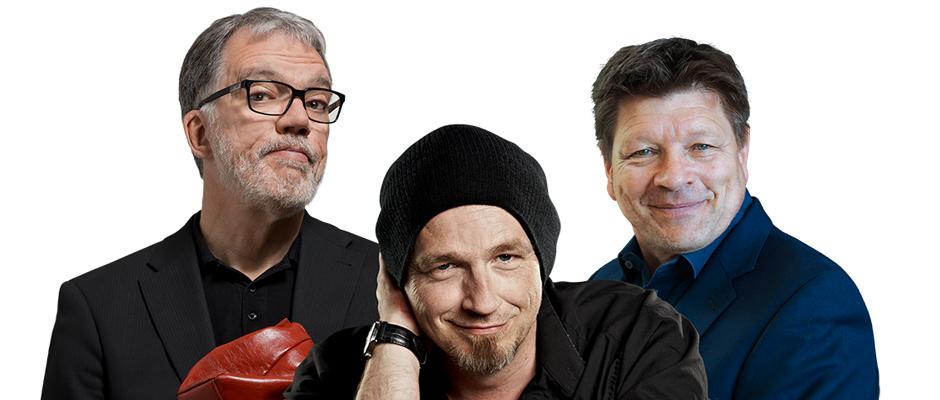 """Wolfgang Trepper, Torsten Sträter und Bruno """"Günna"""" Knust freuen sich auf die Solidarfonds Weihnachtsmatinèe im Mondpalast. Bild: Solidarfonds Stiftung."""