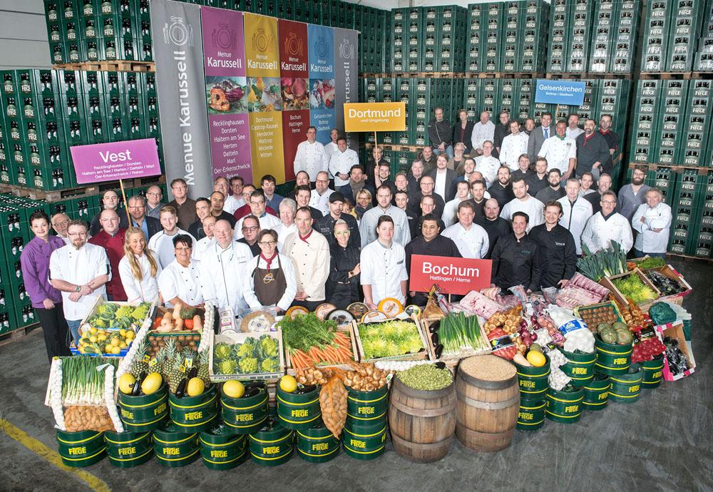 Gastronomen von über 30 Restaurants beim Pressetermin in der Privatbrauerei Moritz Fiege in Bochum. Foto: Stefan Kuhn.