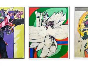 Farbenfrohe Werke von Robert Imhof, zu sehen im Rathaus Herne. © Thomas Schmidt, Stadt Herne.