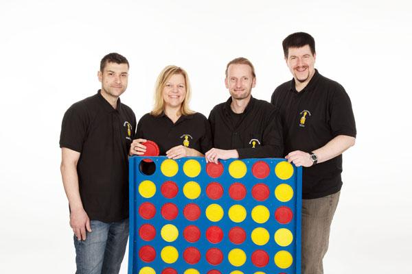 Das neue Team des Spielezentrums: Markus Swatlak, Susanne Klaus, Karsten Höger und Thomas Moder. © Spielezentrum.
