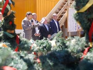 Richtfest am Seniorencampus mit Oberbürgermeister Dr. Dudda, Bernd Kaffanke sowie Jürgen und Norbert Dietz. Foto: Michael Paternoga, Stadt Herne