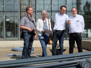 Jörg Fallmeier, Sabine Napp, Stefan Schneider und Klaus Mos-Wietheger besprechen den Umbau. ©Nina-Maria Haupt, Stadt Herne