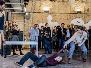 """Tanzperformance der """"Jungen Choreographen"""" der Folkwangschule. © Frank Dieper, Stadt Herne."""