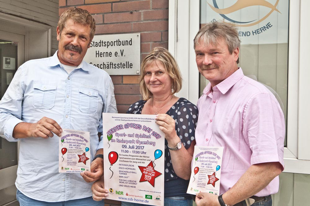 Hans Peter Karpinski, Silvia Jedamzik und Peter Achilles werben für den Sports Day im Gysenberg-Park.