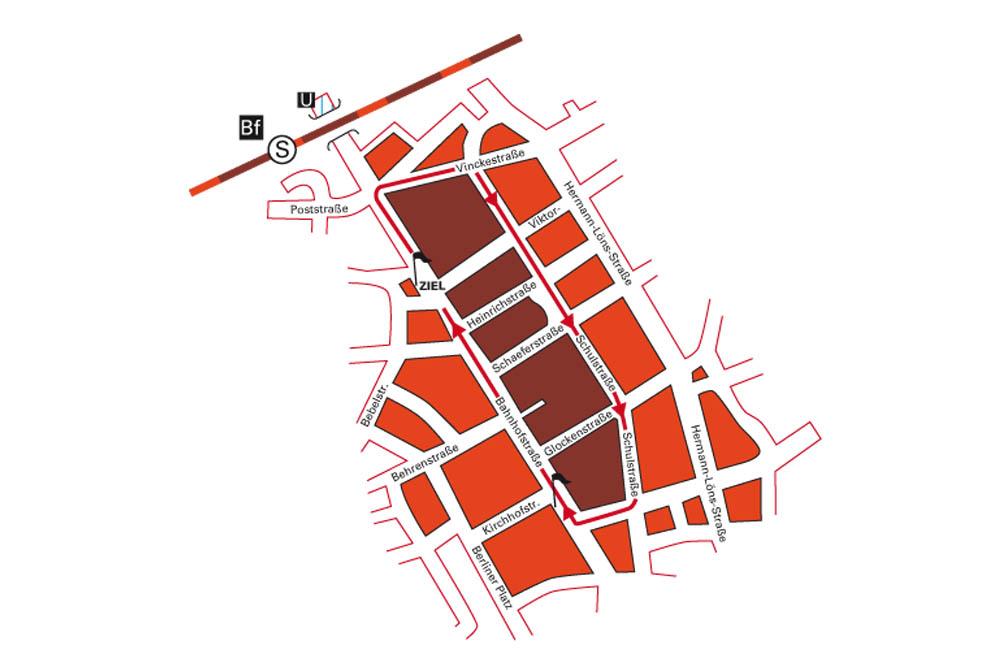 Die Route für den Martinilauf. © SSB Herne