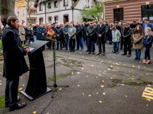 Gedenkveranstaltung an der Langekampstraße. © Frank Dieper, Stadt Herne.