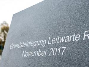 Doppelbock der ehemaligen Zeche Pluto mit Deckplatte für die Grundsteinlegung der Leitwarte. ©Thomas Schmidt, Stadt Herne