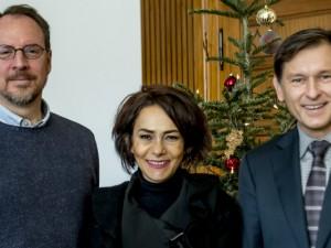 Dr. Sean Michael Cox und Dr. Sibel Baykut zu Gast bei Dr. Frank Dudda. ©Frank Dieper, Stadt Herne