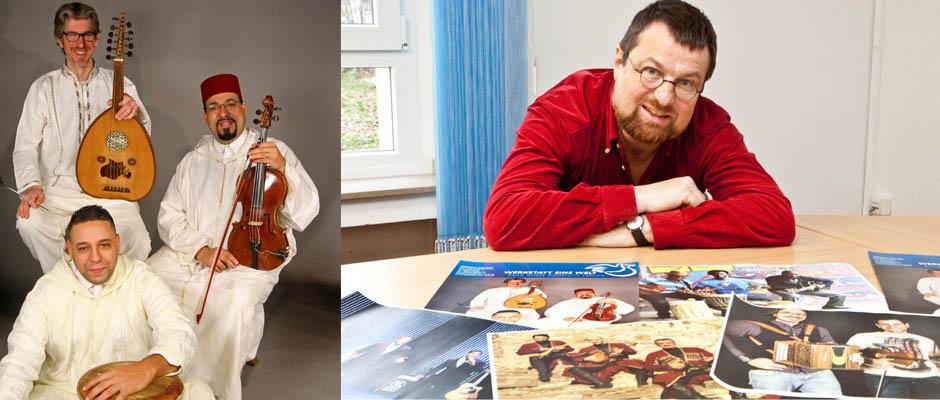 Markus Heßler stellt die fünf Konzerte für Weltmusik vor (r.) - Den Auftakt macht am Freitag, 2. Februar; um 19:30 Uhr die Gruppe Garbain (r.).