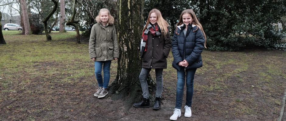 Die drei Mädchen zwischen zehn und zwölf Jahren wollen Bäume pflanzen. ©Nina-Maria Haupt, Stadt Herne