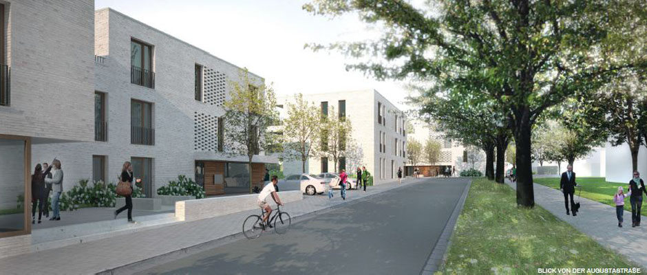 Sicht auf die Augustastraße im Jahre 2024.