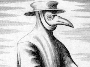 Das Bild aus dem Jahr 1656 zeigt, wie sich die Menschen mit schnabelförmigen Pestmasken gegen die Krankheit zu schützen versuchten