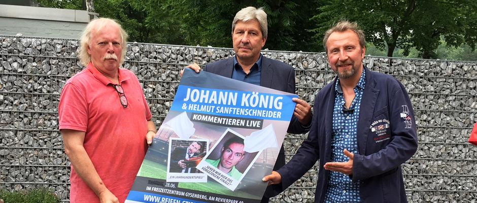 Freuen sich auf den Comedyabend auf dem grünen Rasen (von links nach rechts): Norbert Menzel (LM:V Veranstaltungsservice), Christian Stiebling (Reifen Stiebling) und Helmut Sanftenschneider (Moderator).
