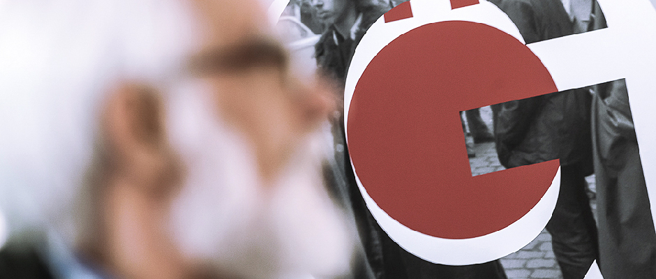 """Das Plakatlogo verbindet die Rote-Punkt-Protestaktion und das """"G"""" von Gölzenleuchter. © Thomas Schmidt, Stadt Herne."""