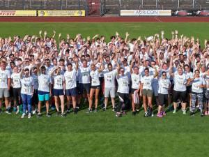 """Unter dem Motto """"Gemeinsam sind wir schneller"""" beteiligten sich fast 350 Mitarbeiter der St. Elisabeth Gruppe – Katholische Kliniken Rhein-Ruhr am St. Elisabeth Firmenlauf im Sportpark Wanne-Eickel."""