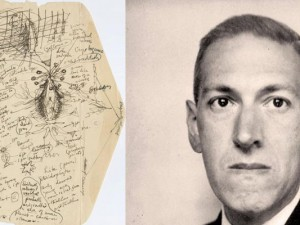 Lovecrafts Notizen geben eine detaillierte Vorstellung seiner literarischen Horror-Wesen und einen Einblick in seine Psyche. Zeichnung: H. P. Lovecraft, 1931 (links). - Der Horrorautor H.P. Lovecraft. Foto: Everett Collection