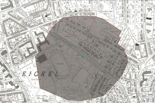 Dieser Bereich an der Dorneburger Straße und der Eintrachtstraße wird am Dienstag, 15. Januar 2019, evakuiert, Karte: Stadt Herne